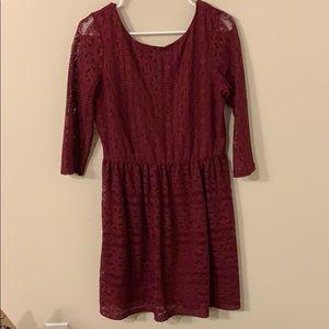 Long Sleeve Burgundy Lace Dress